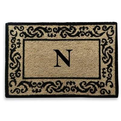 Filigree Decorative Border Monogrammed Doormat Letter: N