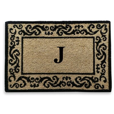 Filigree Decorative Border Monogrammed Doormat Letter: J
