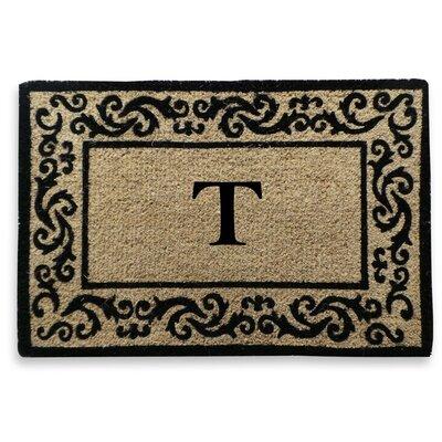 Filigree Decorative Border Monogrammed Doormat Letter: T