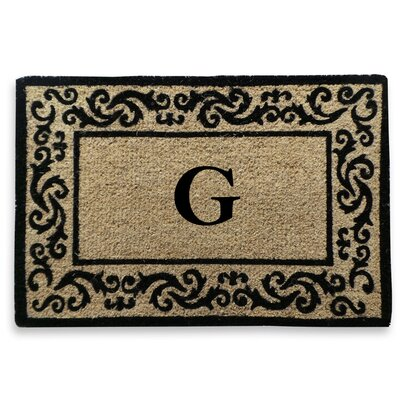 Filigree Decorative Border Monogrammed Doormat Letter: G