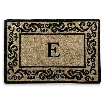 Filigree Decorative Border Monogrammed Doormat Letter: E