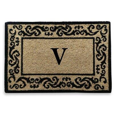 Filigree Decorative Border Monogrammed Doormat Letter: V
