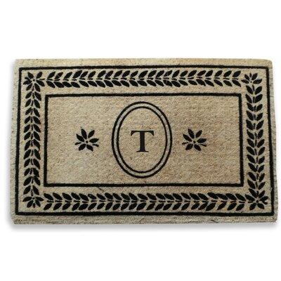 Leaf Border Monogrammed Doormat Letter: T
