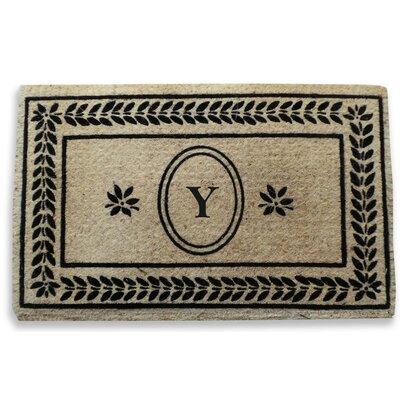 Leaf Border Monogrammed Doormat Letter: Y