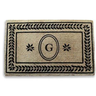 Leaf Border Monogrammed Doormat Letter: G