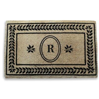 Leaf Border Monogrammed Doormat Letter: R