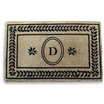 Leaf Border Monogrammed Doormat Letter: D
