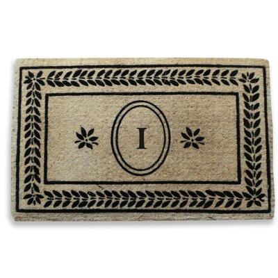Leaf Border Monogrammed Doormat Letter: I