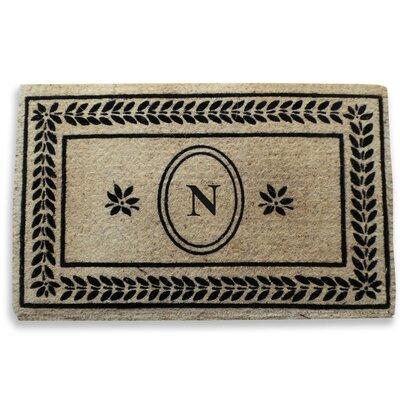 Leaf Border Monogrammed Doormat Letter: N