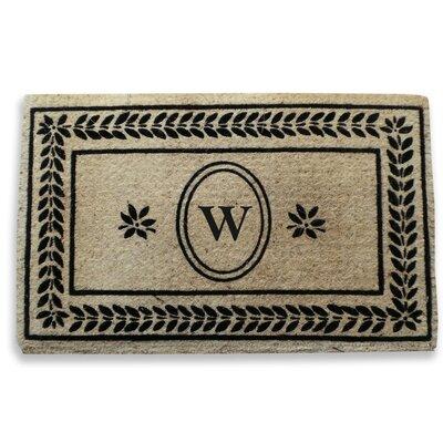 Leaf Border Monogrammed Doormat Letter: W