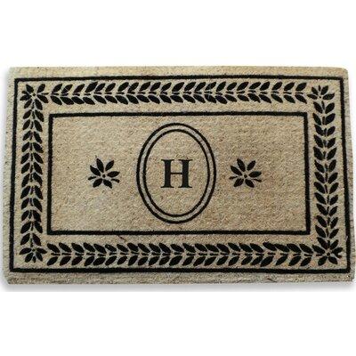 Leaf Border Monogrammed Doormat Letter: H