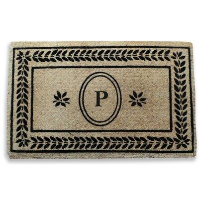 Leaf Border Monogrammed Doormat Letter: P