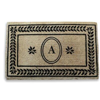 Leaf Border Monogrammed Doormat Letter: A