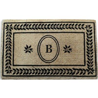 Leaf Border Monogrammed Doormat Letter: B