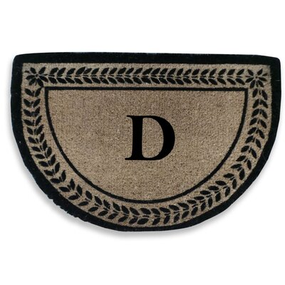 Leaf Decorative Border Monogrammed Doormat Letter: D