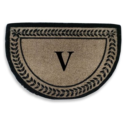 Leaf Decorative Border Monogrammed Doormat Letter: V