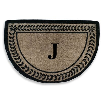 Leaf Decorative Border Monogrammed Doormat Letter: J