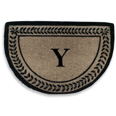Leaf Decorative Border Monogrammed Doormat Letter: Y