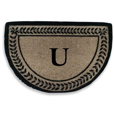 Leaf Decorative Border Monogrammed Doormat Letter: U