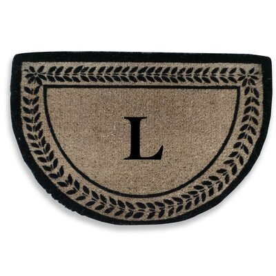 Leaf Decorative Border Monogrammed Doormat Letter: L