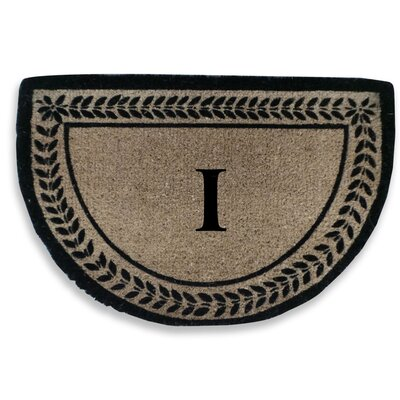 Leaf Decorative Border Monogrammed Doormat Letter: I