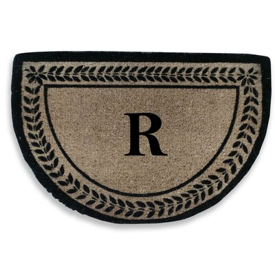 Leaf Decorative Border Monogrammed Doormat Letter: R