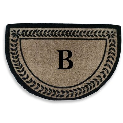 Leaf Decorative Border Monogrammed Doormat Letter: B