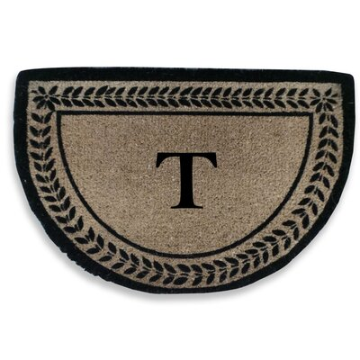 Leaf Decorative Border Monogrammed Doormat Letter: T