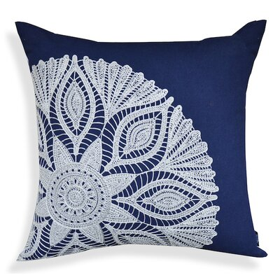Crewel Embroidery 100% Cotton Throw Pillow Color: Indigo