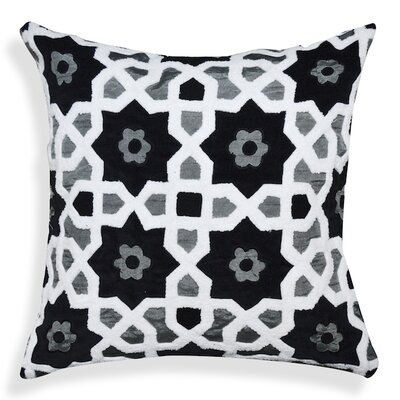 Floral-Geometric Pattern Cotton Throw Pillow