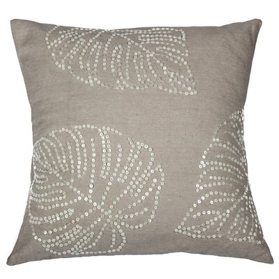 Leaf Sequin Cotton Throw Pillow