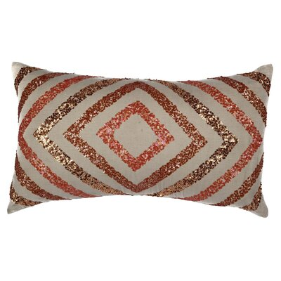 Geometric Sequinwork Cotton Throw Pillow