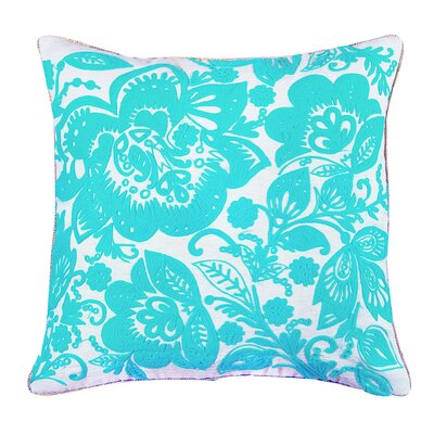 Jacobean Embroidered Cotton Throw Pillow Color: Sea Green