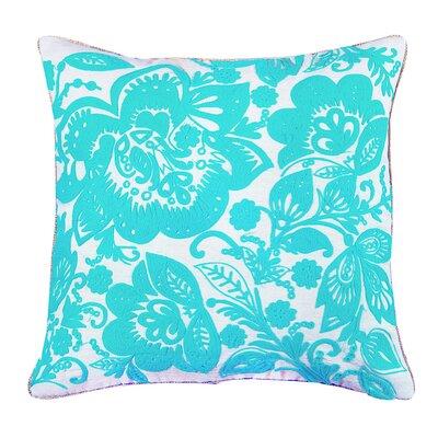 Jacobean Embroidered Cotton Throw Pillow Color: Sea Green