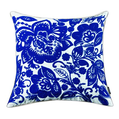 Jacobean Embroidered Cotton Throw Pillow Color: Blue