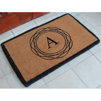 First Impression Kepano Abstract Circle Monogrammed Doormat Letter: A