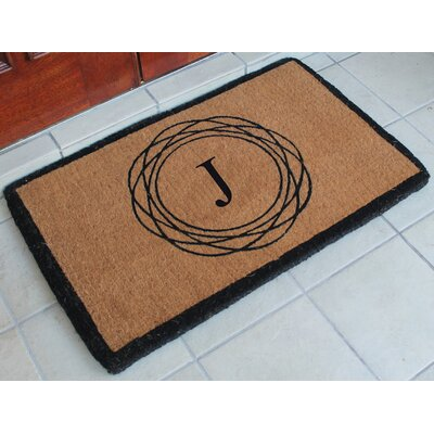 First Impression Kepano Abstract Circle Monogrammed Doormat Letter: J