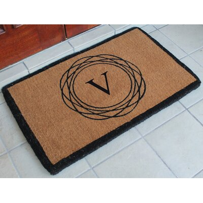 First Impression Kepano Abstract Circle Monogrammed Doormat Letter: V