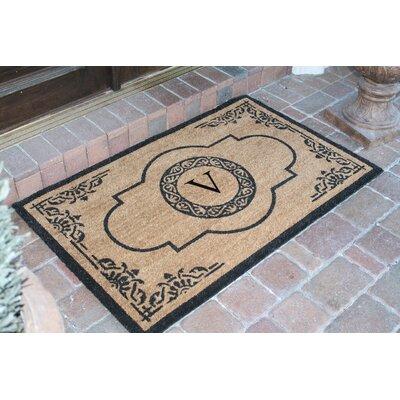 First Impression Abrilina Monogrammed Doormat Letter: V