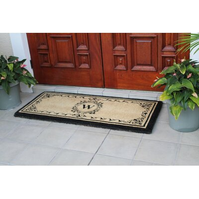 Filigree Decorative Border Monogrammed Doormat Letter: W