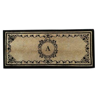 Filigree Decorative Border Monogrammed Doormat Letter: A
