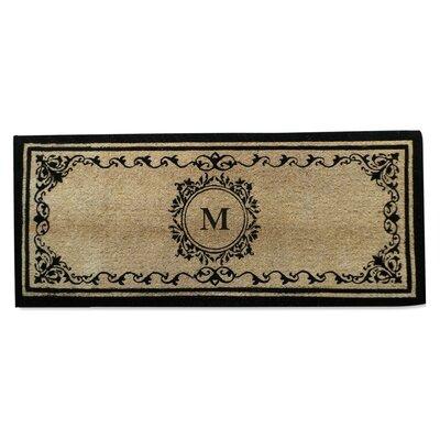 Filigree Decorative Border Monogrammed Doormat Letter: M