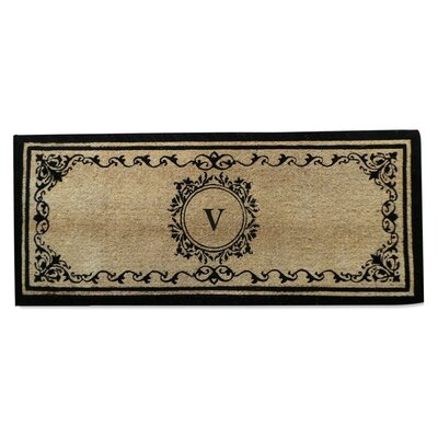 Filigree Decorative Border Monogrammed Doormat Letter: V