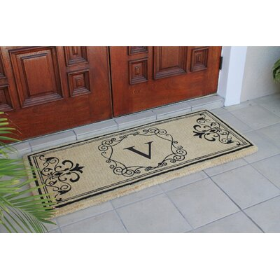 First Impression Hayley Monogrammed Entry Double Doormat Letter: V