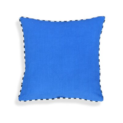 Hand crafted Cotton Throw Pillow Color: Blue