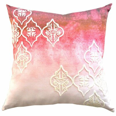 Beaded Ogee Ombre Cotton Throw Pillow Color: Red
