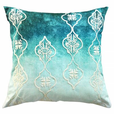 Beaded Ogee Ombre Cotton Throw Pillow Color: Blue