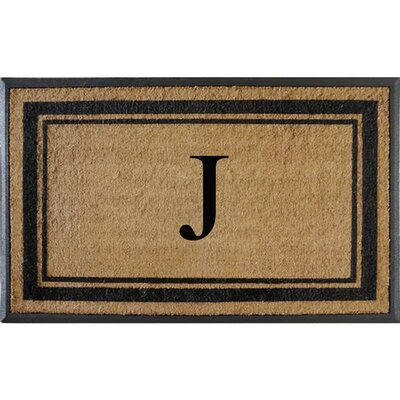 First Impression Markham Border Doubledoor Monogrammed Doormat Letter: J