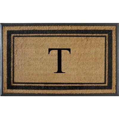 First Impression Markham Border Doubledoor Monogrammed Doormat Letter: T