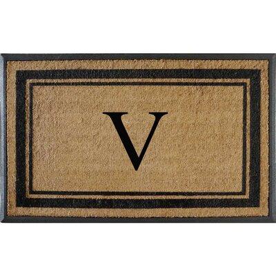 First Impression Markham Border Doubledoor Monogrammed Doormat Letter: V